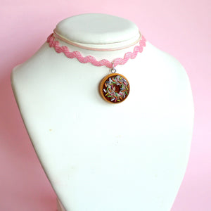Pink Donut Layered Choker Necklace