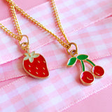Vintage Fruit Charm Necklaces - Strawberry or Cherry