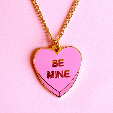 Be Mine Candy Heart Pink Enamel Charm Necklace