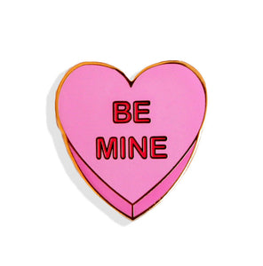 Be Mine Candy Heart Pink Enamel Pin