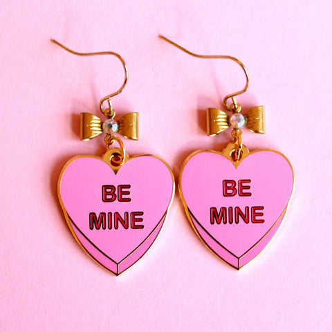 Pink Be Mine Candy Heart Enamel Charm Earrings