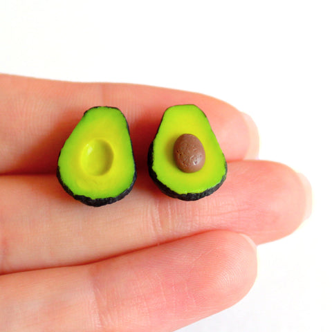 Medium Avocado Stud Earrings - Hypoallergenic - Fatally Feminine Designs
