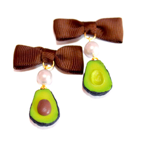 Avocado Pearl and Bow Earrings - Fatally Feminine Designs