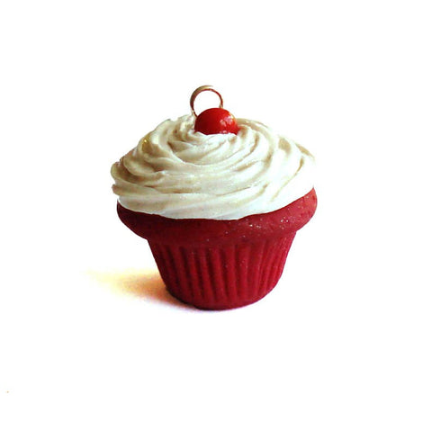 Classic Red Velvet Cupcake Charm, Red Velvet Cake Necklace, Mini Food Jewelry, Miniature Food Jewelry, Cupcake Necklace