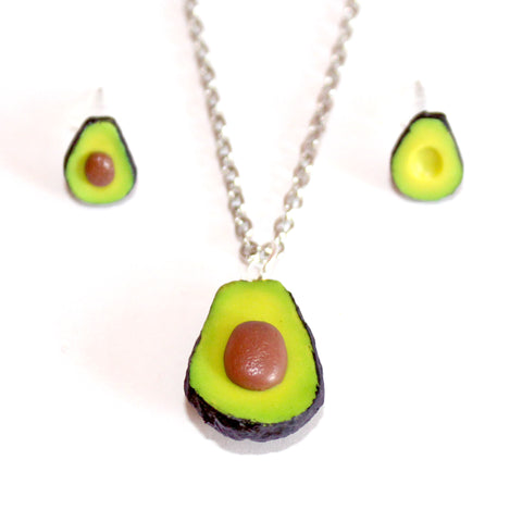Avocado Necklace & Stud Earrings Set - Fatally Feminine Designs