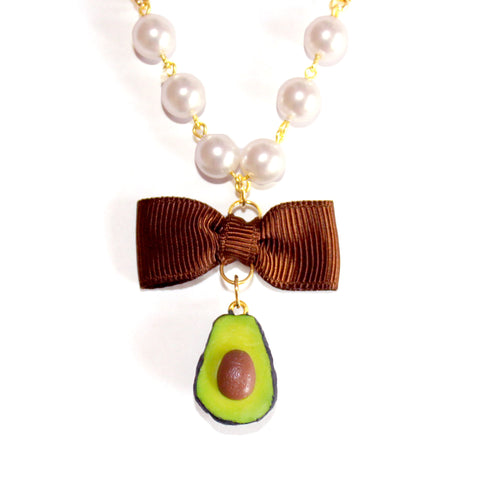 Avocado Pearl and Bow Necklace - Fatally Feminine Designs