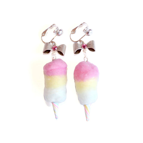 Clip-on Rainbow Cotton Candy Earrings - Fatally Feminine Designs