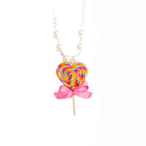 Pink Rainbow Heart Lollipop Necklace - Fatally Feminine Designs