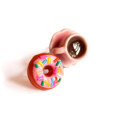 Donut and Coffee Post Earrings - Asymmetrical earrings