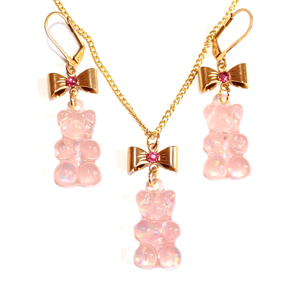 Pink Gummy Bear Jewelry Set
