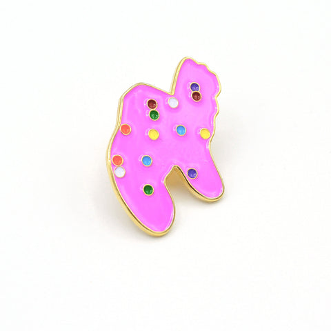 Pink Animal Cookie Enamel Pin - Fatally Feminine Designs