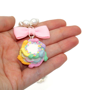 Pastel Rainbow Birthday Cake Necklace