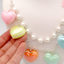 Load image into Gallery viewer, Pastel Heart Macaron Statement Necklace - Gold or Silver - Valentines Day Necklace