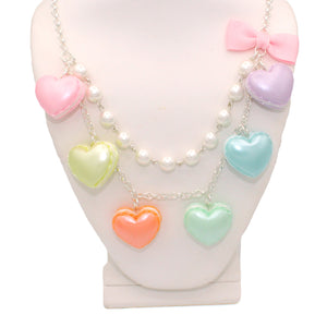 Pastel Heart Macaron Statement Necklace - Gold or Silver - Valentines Day Necklace