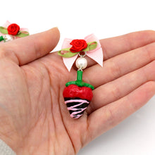 Load image into Gallery viewer, Pink Chocolate Covered Strawberry Earrings - Valentine's Day