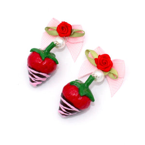 Pink Chocolate Covered Strawberry Earrings - Valentine's Day
