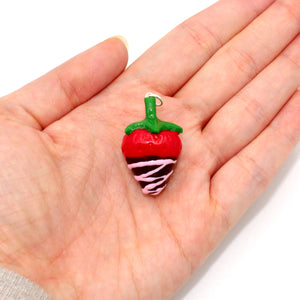 Pink Chocolate Covered Strawberry Charm - Valentine's Day