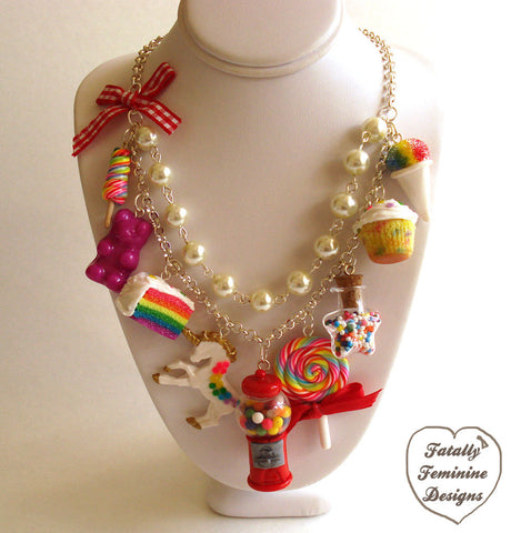 Kawaii Rainbow Candy Shop Statement Necklace