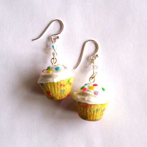 Rainbow Confetti Cupcake Earrings, Funfetti Birthday Cupcake Earrings