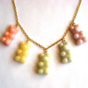 Pastel Gummy Bears Necklace Charm Necklace - Fatally Feminine Designs