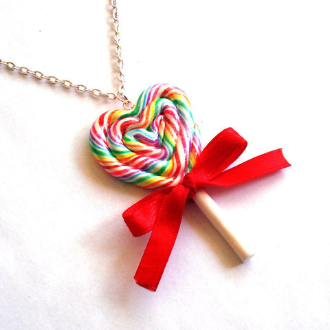 Giant Rainbow Lollipop Necklace - Fatally Feminine Designs