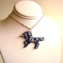 Load image into Gallery viewer, Opal Unicorn Necklace - Iridescent Glitter - Rainbow Effect