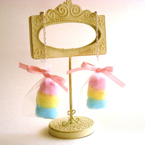 Rainbow Pastel Cotton Candy Bag Earrings