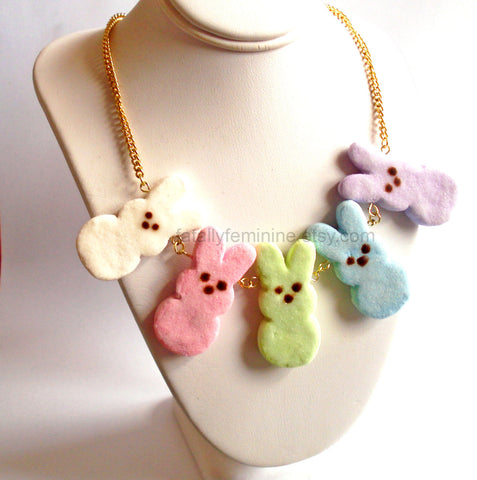 Peeps Marshmallow Bunny Statement Necklace