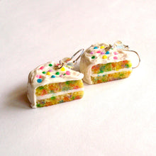 Load image into Gallery viewer, Confetti Cake Earrings, Funfetti Birthday Cake Slice Charm Earrings