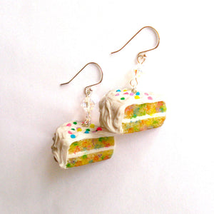 Confetti Cake Earrings, Funfetti Birthday Cake Slice Charm Earrings