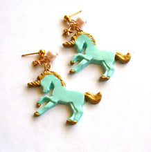 Load image into Gallery viewer, Pastel Golden Unicorn Earrings