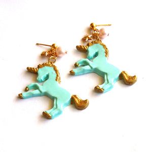 Pastel Golden Unicorn Earrings