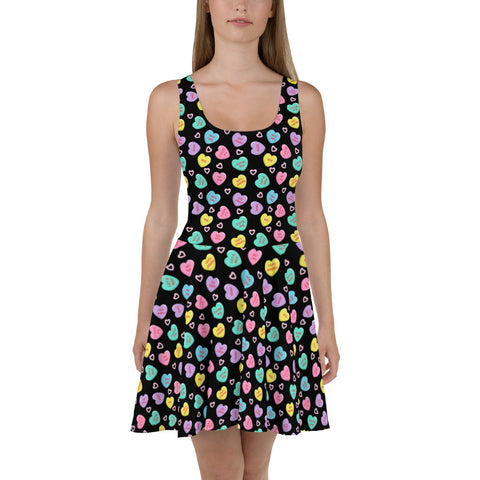 Bittersweet Candy Hearts Skater Dress - BLACK