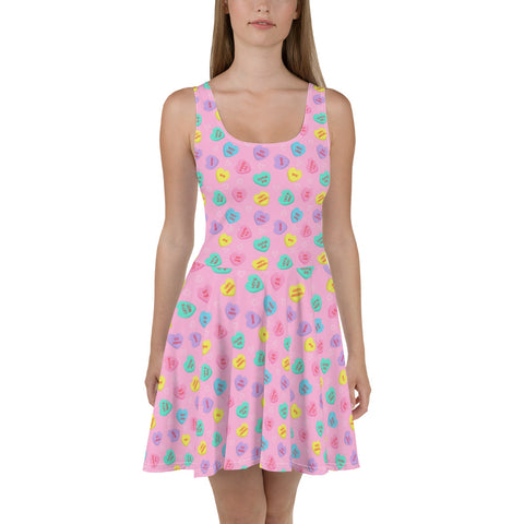 Bittersweet Candy Hearts Skater Dress - PINK
