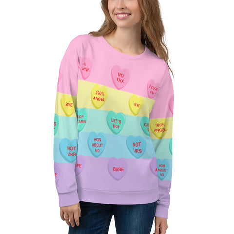 Bittersweet Candy Hearts Pastel Rainbow Unisex Sweater