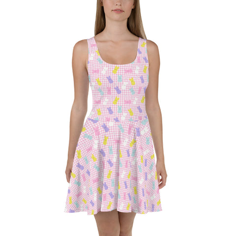 Pastel Peep Bunny Skater Dress