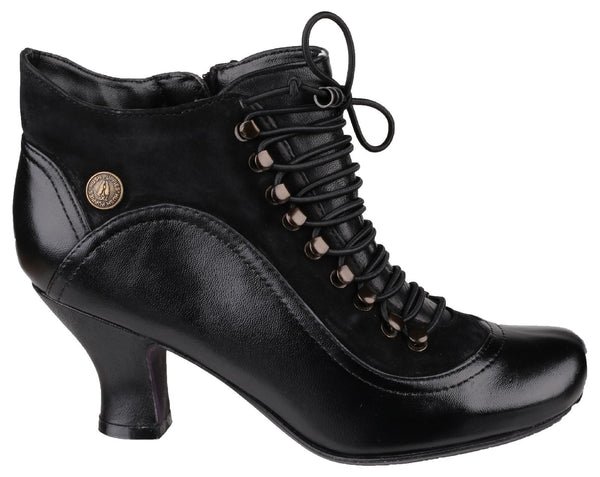 BLACK VIVIANNA LACE UP HEELED BOOT