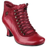 RED VIVIANNA LACE UP HEELED BOOT