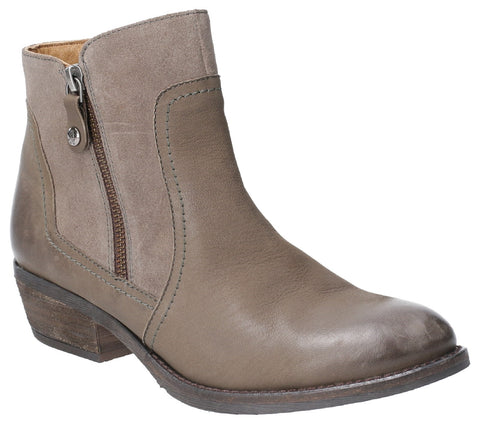 KHAKI ISLA ZIP UP ANKLE BOOT
