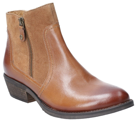 TAN ISLA ZIP UP ANKLE BOOT
