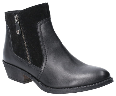BLACK ISLA ZIP UP ANKLE BOOT