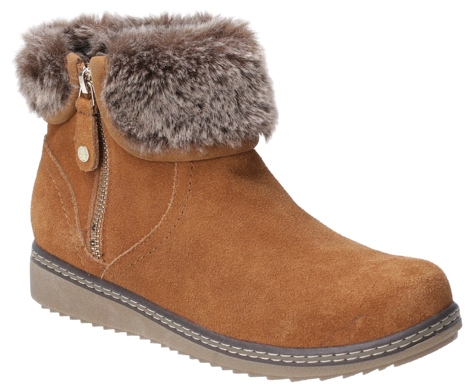 TAN Penny Zip Ankle Boot