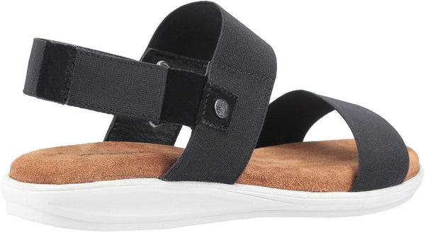BLACK ASHLEY TOUCH FASTENING STRAP SANDAL