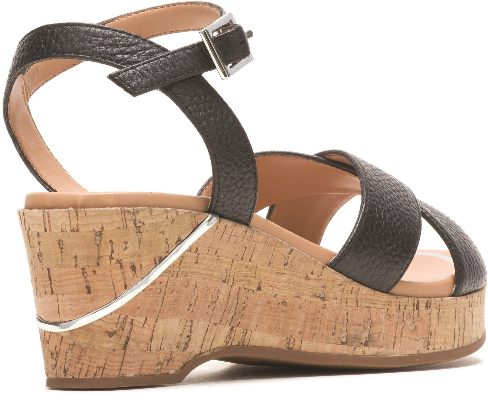 Black Maya Qtr Strap Wedge Sandal