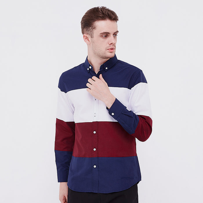 Stripes 02 L/S Shirt - Navy