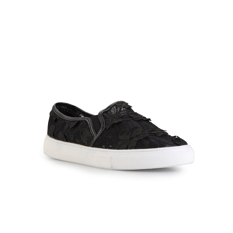 Woman Floral Lace Slip-On - Black