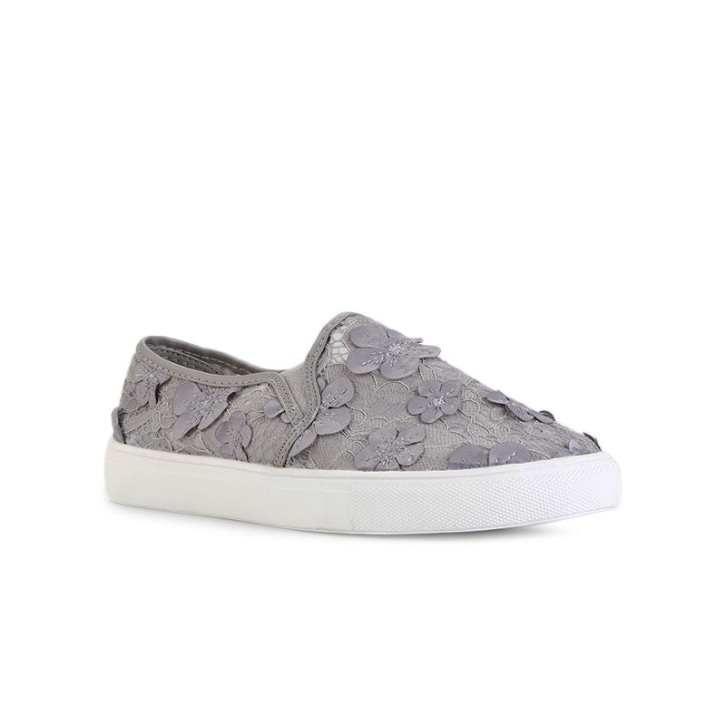 Woman Floral Lace Slip-On - Grey