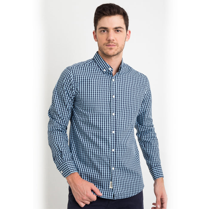 Gingham 011 L/S Shirt - Blue