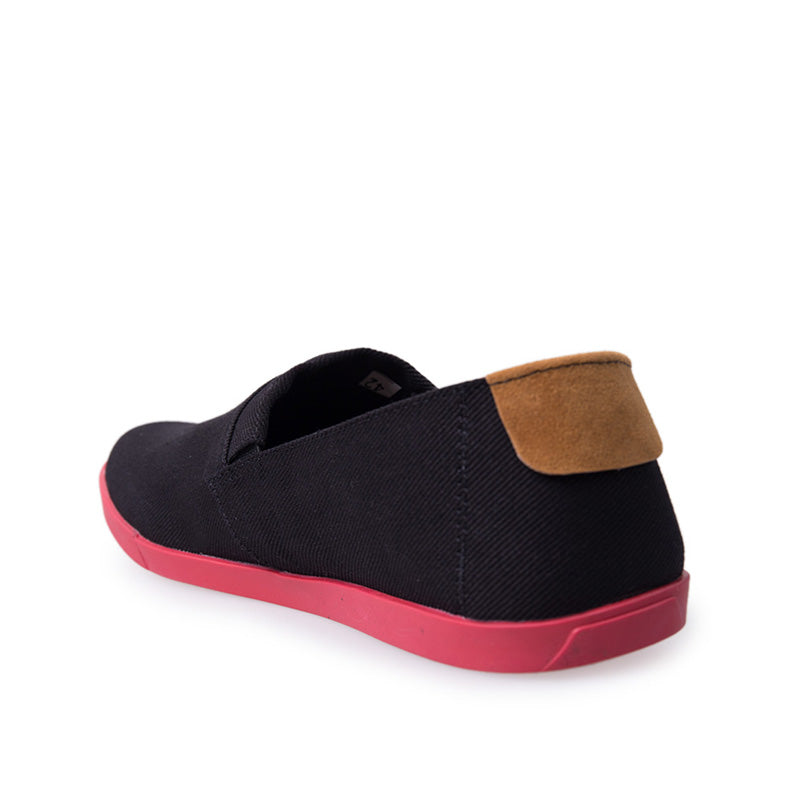 Canvas Slip-On NB013 - Black Red
