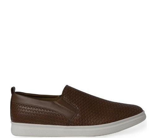 Emboss Weave Slip-On - Brown